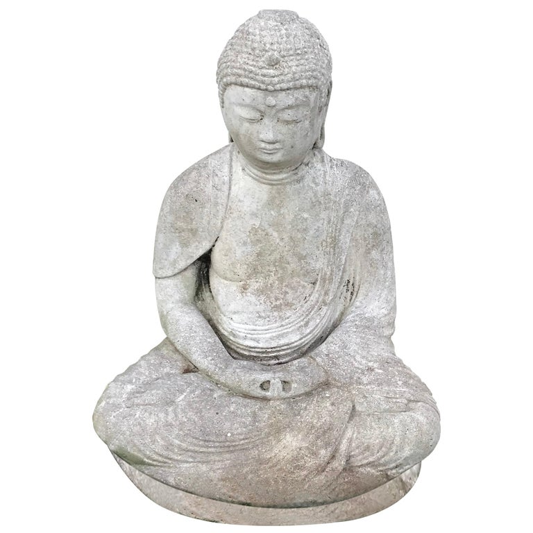 Early 20th Century Carved Stone Seated Buddha Sculpture For Sale