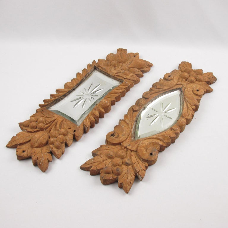 Early 20th Century Carved Wood Mirror Architectural Ornament Sculpture, 8 Pc For Sale 5