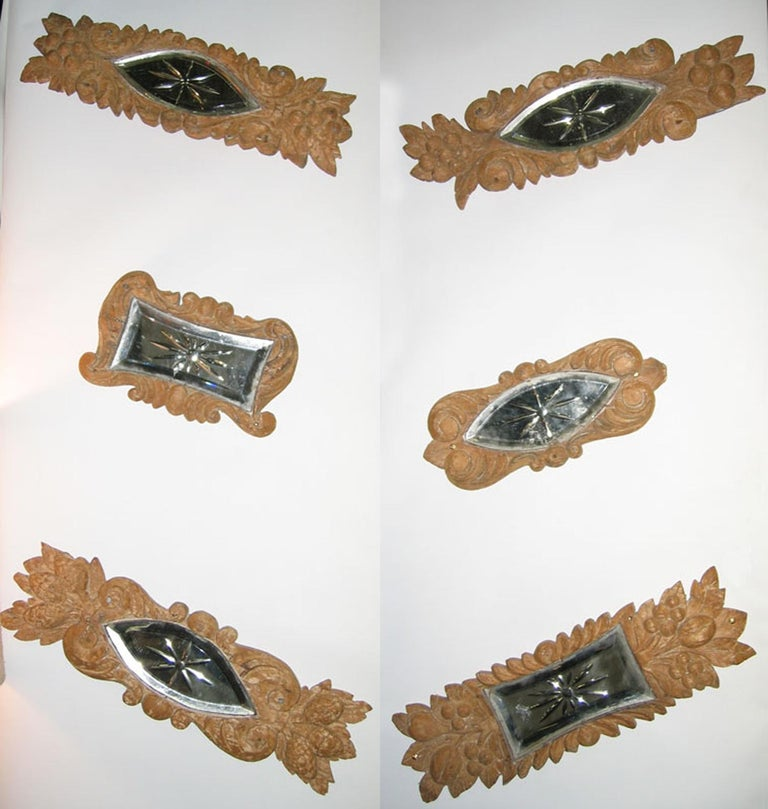 Early 20th Century Carved Wood Mirror Architectural Ornament Sculpture, 8 Pc For Sale 8