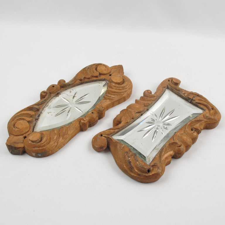 Early 20th Century Carved Wood Mirror Architectural Ornament Sculpture, 8 Pc For Sale 1
