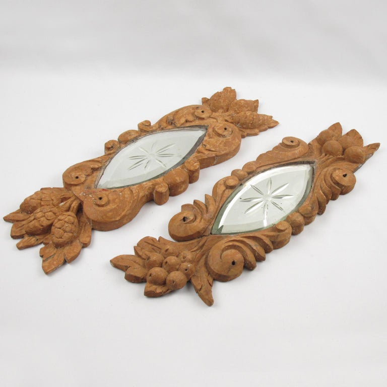 Early 20th Century Carved Wood Mirror Architectural Ornament Sculpture, 8 Pc For Sale 3