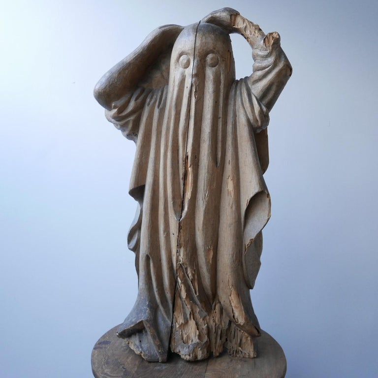 French Early 20th Century Carved Wooden Ghost For Sale