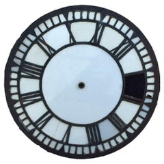 Early 20th Century Cast Iron and Glass English Church Clock Face