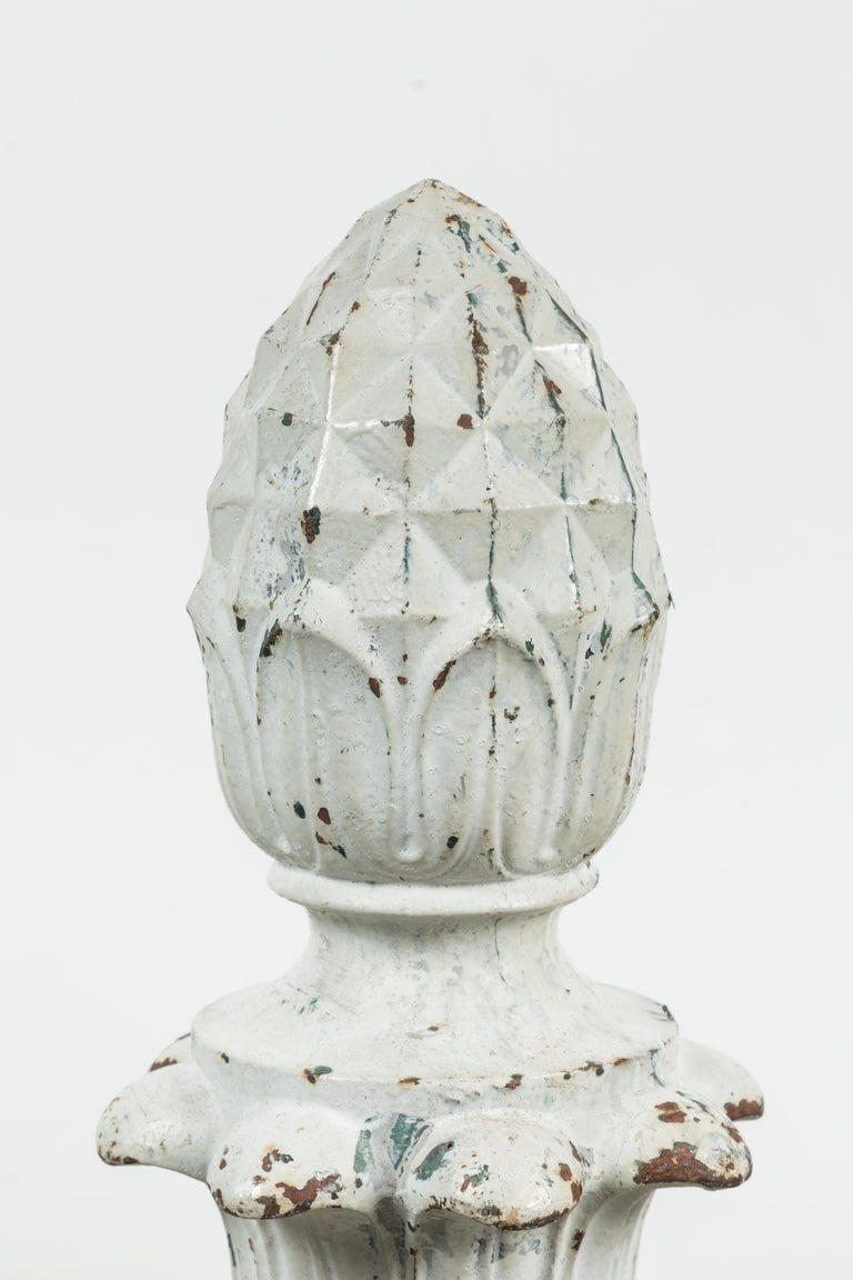 Early 20th Century Cast Iron Architectural Pineapple Finials, Pair For Sale 1