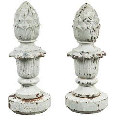 Early 20th Century Cast Iron Architectural Pineapple Finials, Pair