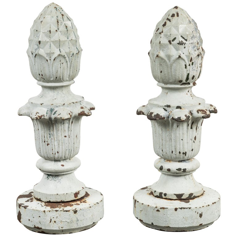 Early 20th Century Cast Iron Architectural Pineapple Finials, Pair For Sale
