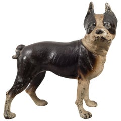 Early 20th Century Cast Iron Boston Terrier Doorstop by Hubley, circa 1910-1940