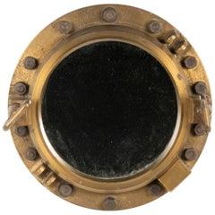 Early 20th Century Cast Iron Mirror Ship Porthole