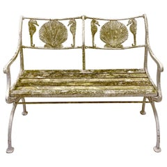 Early 20th Century Cast Iron Shell and Seahorse Form Bench by Marcy Foundry