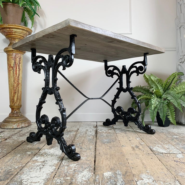 English Early 20th Century Cast Iron Table with Contemporary Reclaimed Top For Sale