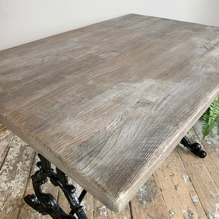 Early 20th Century Cast Iron Table with Contemporary Reclaimed Top For Sale 2