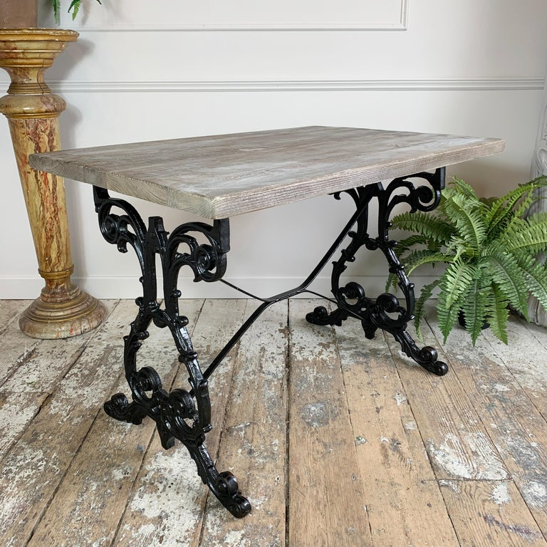 Early 20th Century Cast Iron Table with Contemporary Reclaimed Top For Sale 3