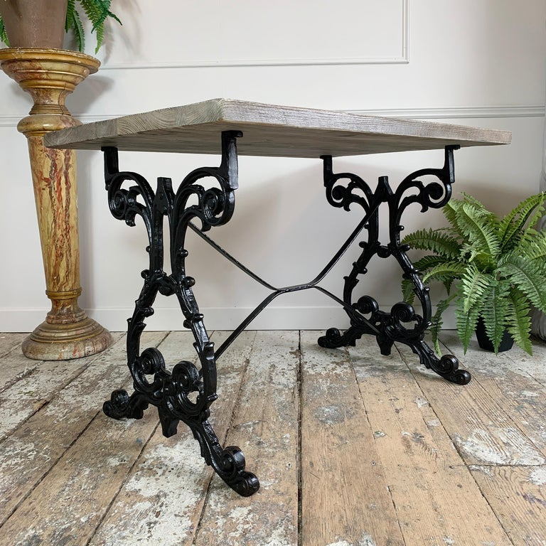 Early 20th Century Cast Iron Table with Contemporary Reclaimed Top For Sale 4
