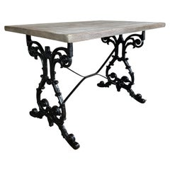 Early 20th Century Cast Iron Table with Contemporary Reclaimed Top