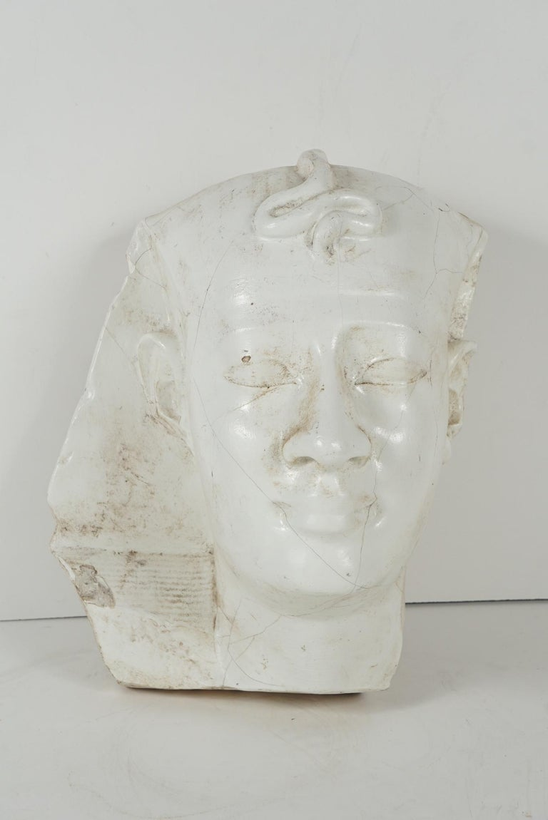 Egyptian Early 20th Century Cast Plaster Head of Pharoh For Sale