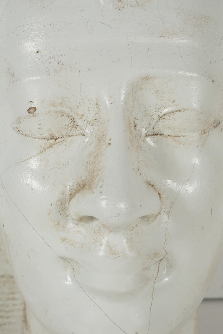 Early 20th Century Cast Plaster Head of Pharoh In Good Condition For Sale In Hudson, NY