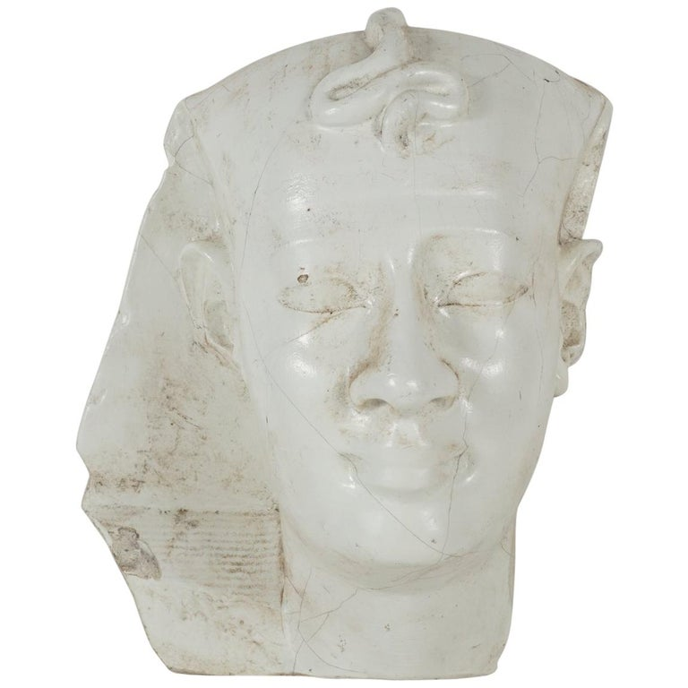 Early 20th Century Cast Plaster Head of Pharoh For Sale