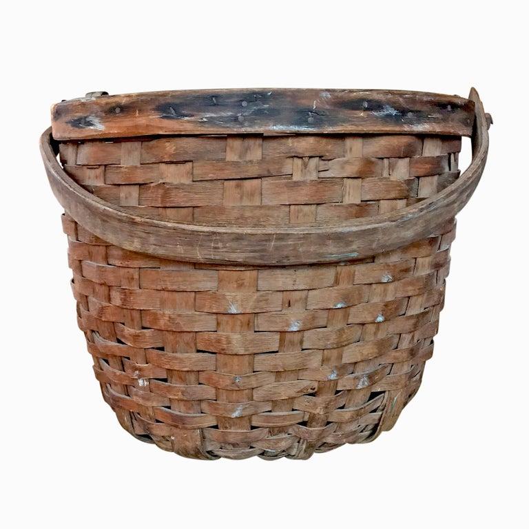 American Early 20th Century Cedar Splint Basket For Sale