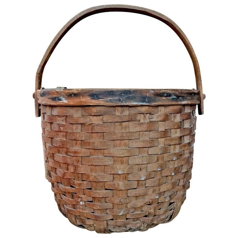 Early 20th Century Cedar Splint Basket For Sale