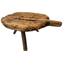 Early 20th Century Cedar Tripod Milking Stool from Mexico