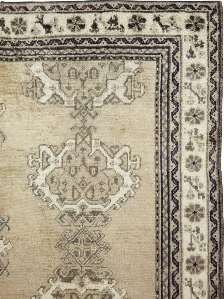 Rustic Early 20th Century Champagne Colored Turkish Handmade Oushak Carpet For Sale