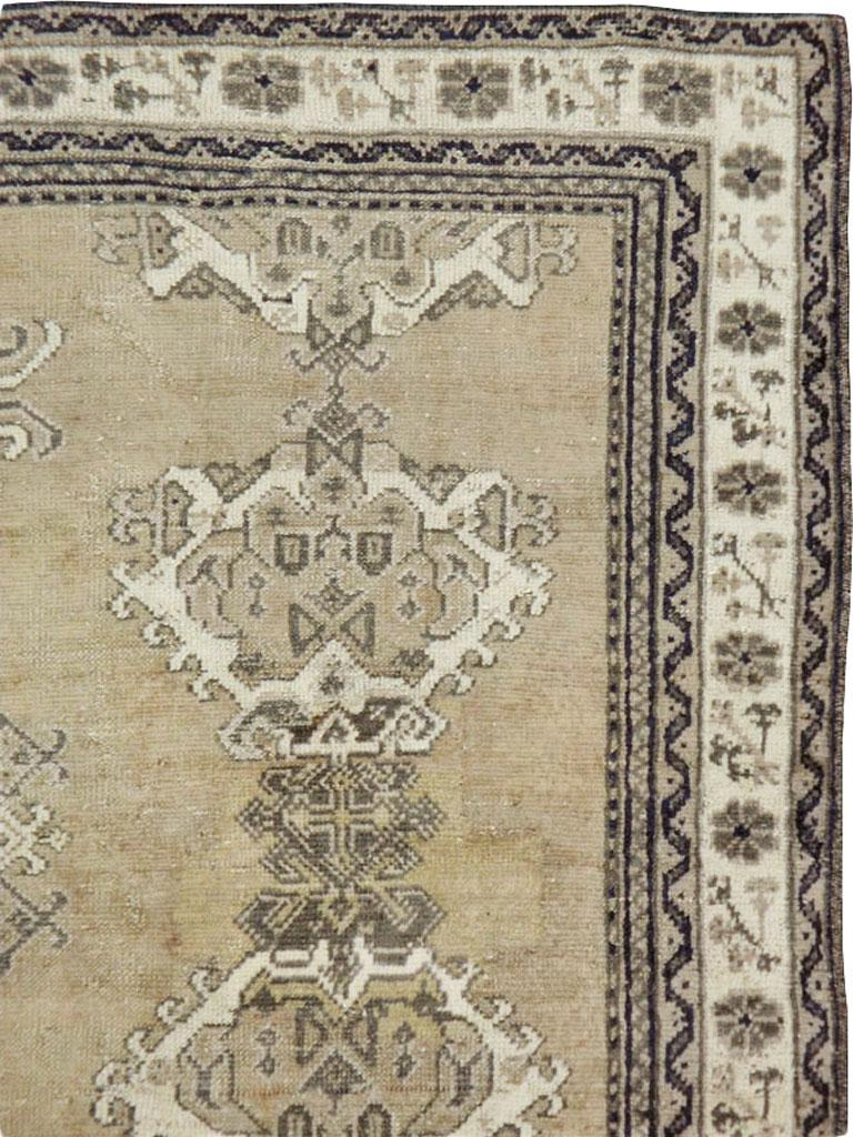 Hand-Knotted Early 20th Century Champagne Colored Turkish Handmade Oushak Carpet For Sale