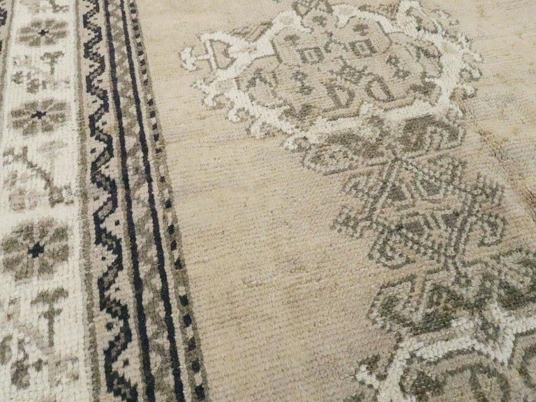 Wool Early 20th Century Champagne Colored Turkish Handmade Oushak Carpet For Sale