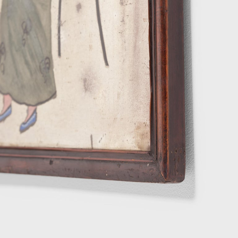 Qing Early 20th Century Chines Reverse Glass Portrait Painting For Sale