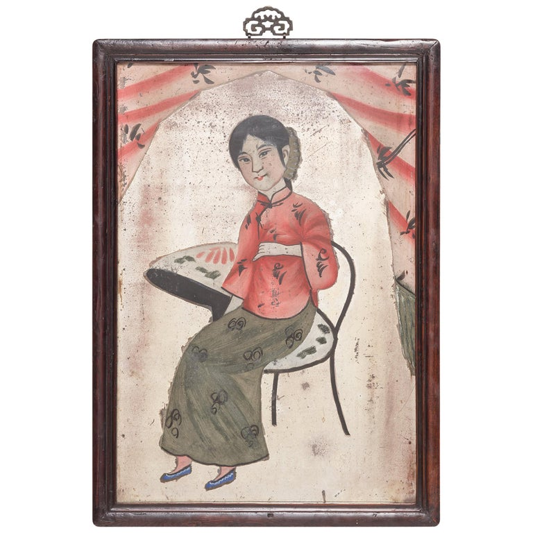 Early 20th Century Chines Reverse Glass Portrait Painting For Sale