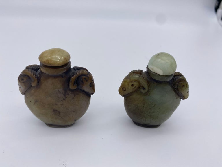 Early 20th Century Chinese Agate and Jade Snuff Bottles For Sale 7