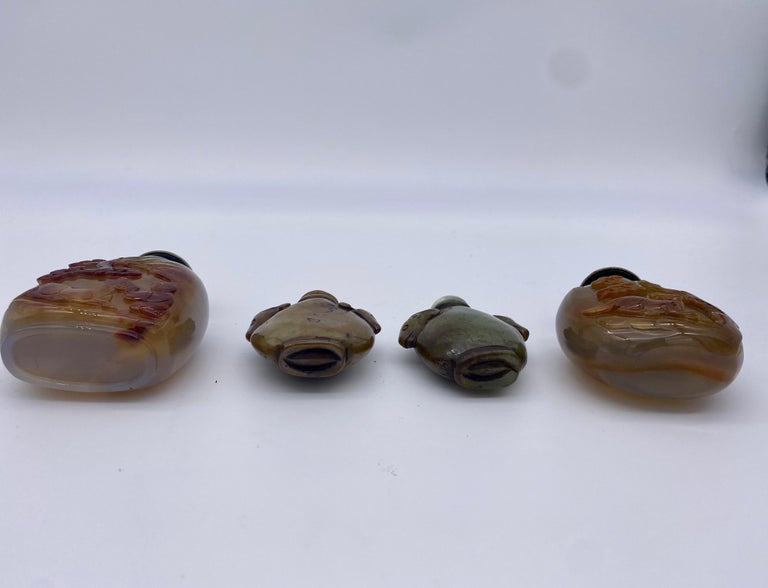 Early 20th Century Chinese Agate and Jade Snuff Bottles For Sale 9
