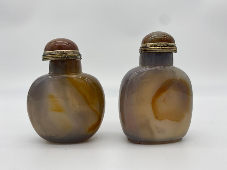 Qing Early 20th Century Chinese Agate and Jade Snuff Bottles For Sale