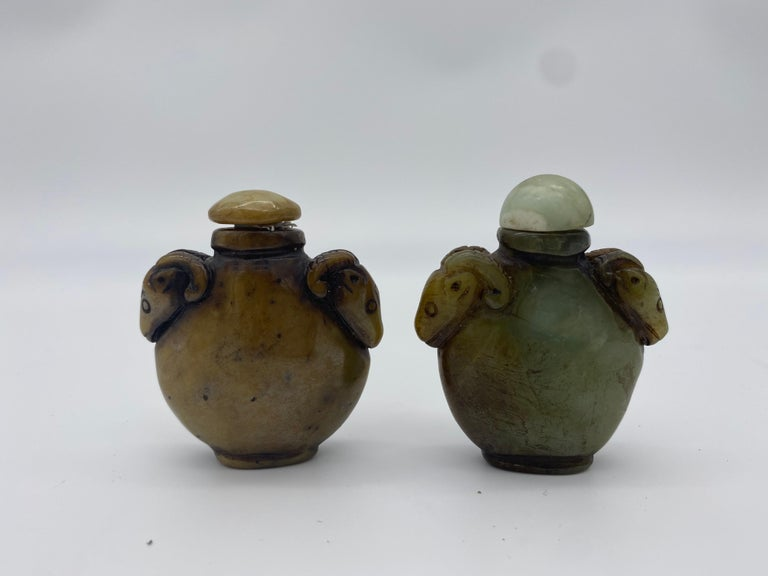 Early 20th Century Chinese Agate and Jade Snuff Bottles In Good Condition For Sale In Brea, CA