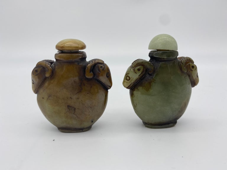 Early 20th Century Chinese Agate and Jade Snuff Bottles For Sale 1
