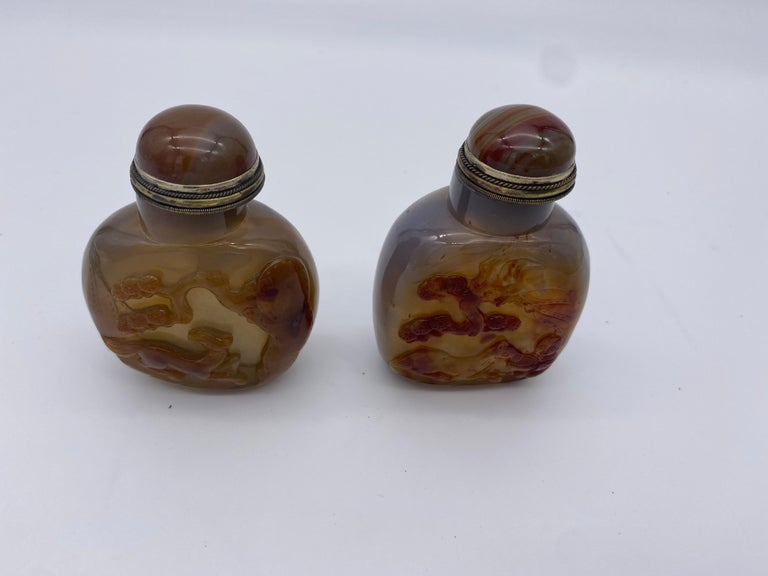 Early 20th Century Chinese Agate and Jade Snuff Bottles For Sale 5