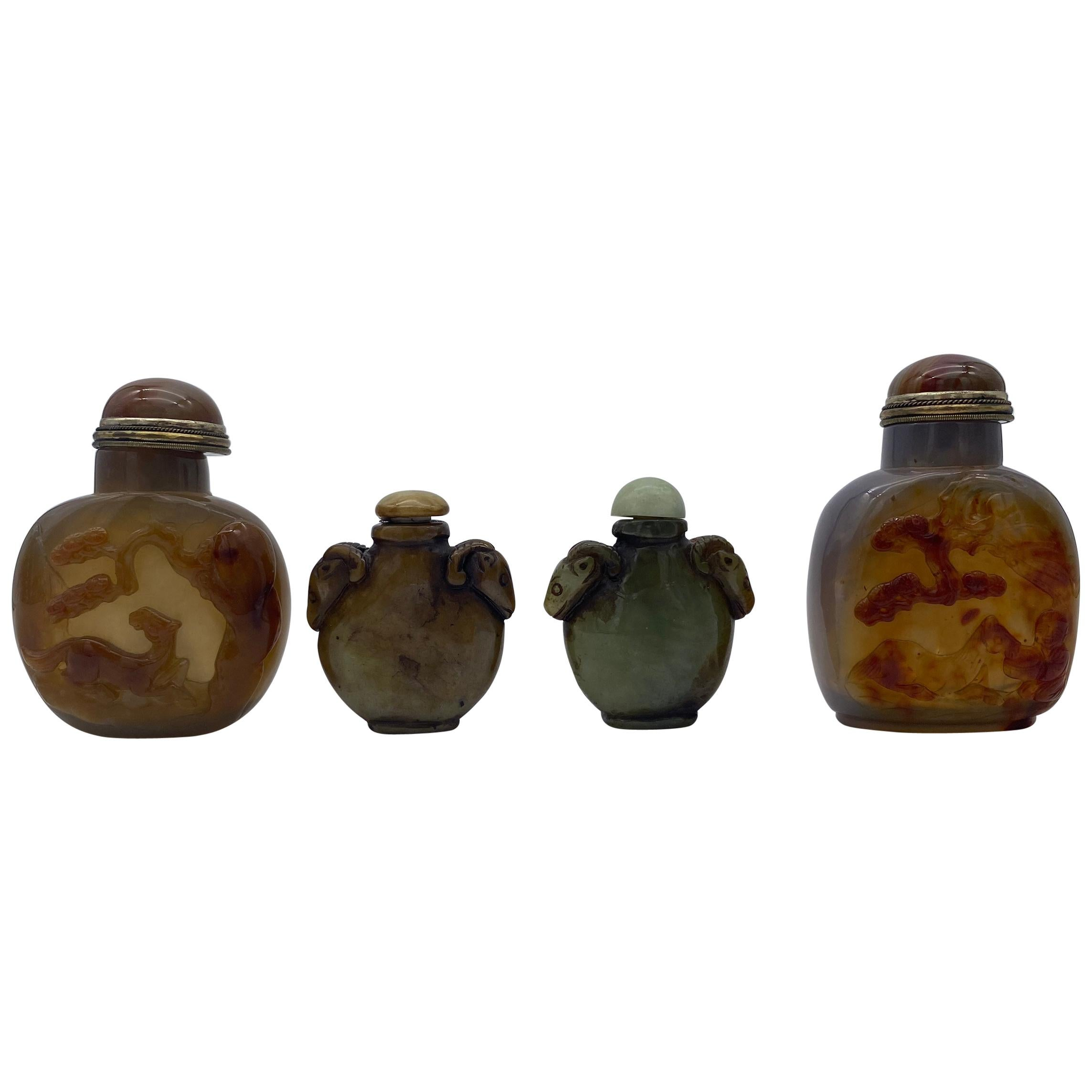 Early 20th Century Chinese Agate and Jade Snuff Bottles