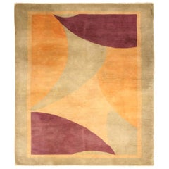 Early 20th Century Chinese Art Deco Design Wool Rug in Gold, Beige and Purple