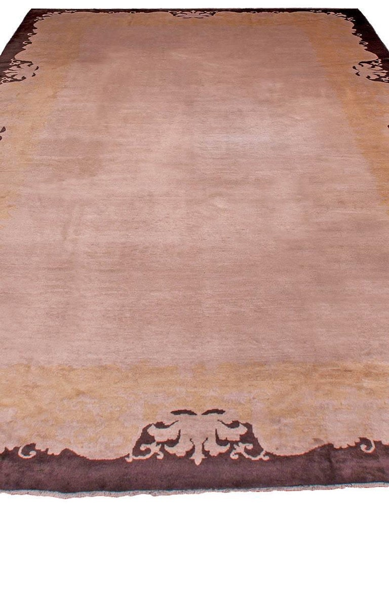 Hand-Knotted Early 20th Century Chinese Art Deco Handmade Wool Rug For Sale