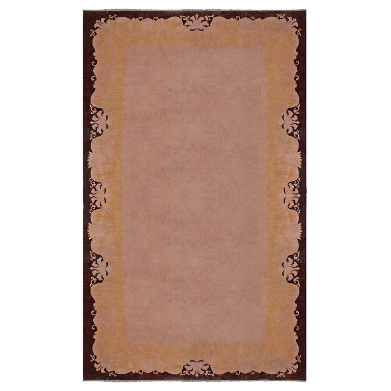 Early 20th Century Chinese Art Deco Handmade Wool Rug For Sale