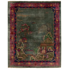 Early 20th Century Chinese Art Deco Pictorial Wool Rug