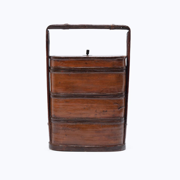 Lacquered Early 20th Century Chinese Bamboo Stacking Box For Sale