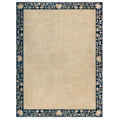 Early 20th Century Chinese Beige and Blue Handmade Wool Rug