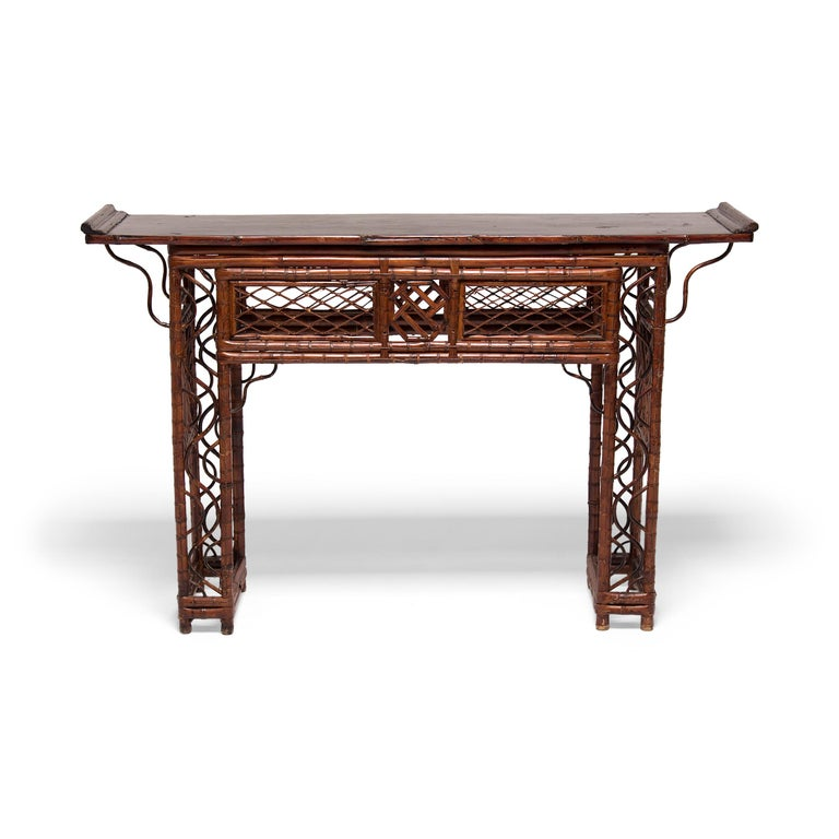 Early 20th Century Chinese Bent Bamboo Altar Table 1