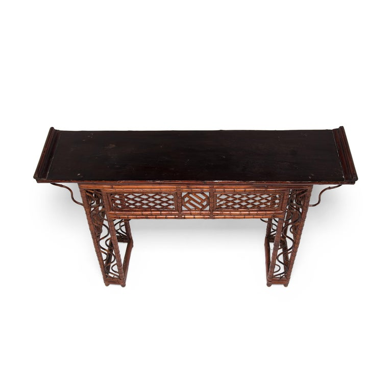 Early 20th Century Chinese Bent Bamboo Altar Table 2