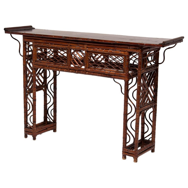 Early 20th Century Chinese Bent Bamboo Altar Table