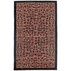 Early 20th Century Chinese Black and Light Pink Wool Rug
