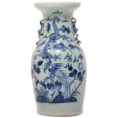 19th Century Chinese Blue and White Dragon and Phoenix Fantail Vase