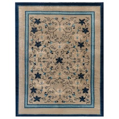 Early 20th Century Chinese Carpet in Beige and Blue