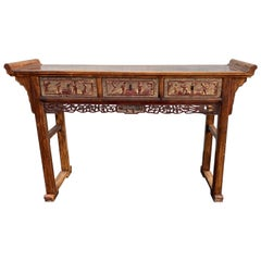 Early 20th Century Chinese Carved Polychrome Three-Drawer Hardwood Altar Table