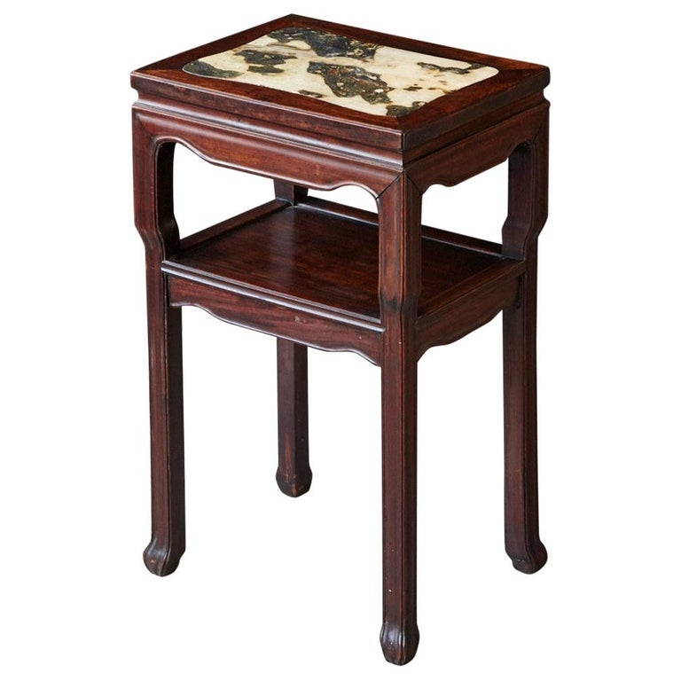 Early 20th Century Chinese Carved Rectangular Hardwood Table with Marble Inset For Sale